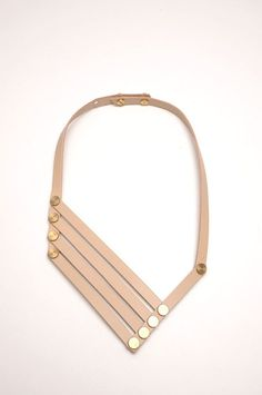 cool Aumorfia | LINEAR_A | VN_necklace | nude beige leather & goldish brass...