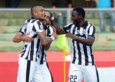 Martin Caceres of Juventus celebrates after scoring his opening goal...