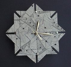 Art Deco Origami ClockLarge by Giftedpapers on Etsy, $40.00 - Would look great in office