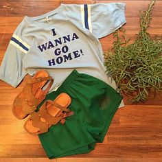 """Is all this rain making you WANNA GO HOME!? Don't! Come to Ballard where it is sunny and bright with our amazing vintage finds and happy summer music!  80s summer camp style tshirt - Sm $20  70s green shorts - size 30/32"""" $20  Men's tan suede sandals - size 8 $36  Comment or DM with email address and postal code to purchase.  #vintage #vintagefashion #mensfashion #wethotamericansummer #summercampstyle #luckydrygoods #70s #80s #summerstyle #ootd #shopvintage #instasale"""