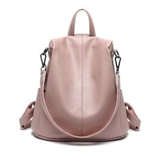 JeHouze Fashion Women Handbag Genuine Leather Backpack Casual Shoulder Bag Anti-theft purse (Pink) >>> Visit the image link more details. (This is an affiliate link)