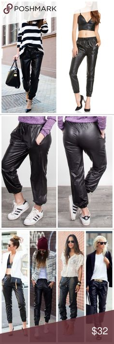 JUST IN❤HOST PICK❤Leather Joggers So Chic Black Leather Pocket Joggers. With string. Material: 95% Polyester, 5% Spandex .Limited Edition. SoChic Pants Track Pants & Joggers