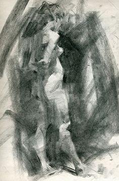 Contemplative by Jennifer McChristian Charcoal ~ 16 x 11