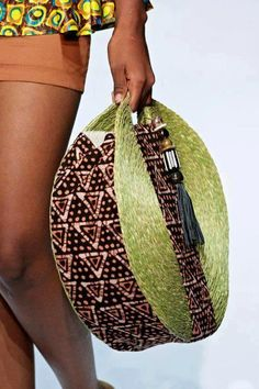 Straq purse with african fabric accent
