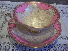 E B Foley England Bone China Tea Cup and Saucer Dramatic Gold and Pink