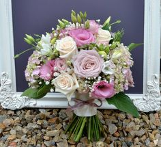Gorgeous pink, latte and cream bouquets. Featuring Roses, Lissianthus, Hydrangea and Freesia.