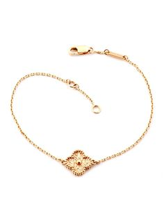 Van Cleef & Arpels 18K Rose Gold Sweet Alhambra Clover Bracelet at London Jewelers!