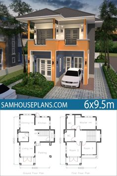 Home Plan with 3 Bedrooms - Sam House Plans Home Design Floor Plans, Home Building Design, House Floor Plans, 2 Storey House Design, Small House Design, Modern House Design, Tiny House Layout, House Layouts, Two Story House Plans