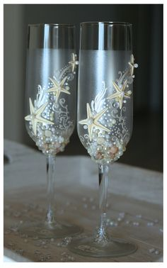 Pearl Wedding Glasses Wedding champagne glasses by IrenDesigns wedding glass for guests;wedding glass for bride and groom;wedding glass for bridal party Little Mermaid Wedding, The Little Mermaid, Perfect Wedding, Dream Wedding, Wedding Day, Wedding Beach, Nautical Wedding, Wedding Disney, Beach Themed Weddings