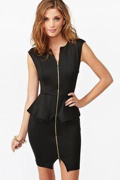 Fashion Front Zipper Black Sleeveless Peplum Dress