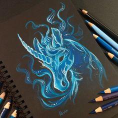 Unicorn patronus by AlviaAlcedo on DeviantArt Amazing Drawings, Colorful Drawings, Cool Drawings, Amazing Art, Fantasy Drawings, Art Drawings Sketches, Fantasy Art, Unicorn Drawing, Unicorn Art