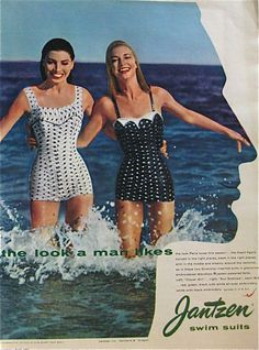Jantzen Swimsuit ad from April 1957 Seventeen Magazine. Note the man's silhouette!