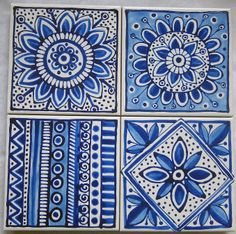 Delft inspired blue and white ceramic tile coasters www.jocelynproustdesigns.com.au
