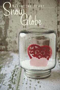 Valentine's snow globe!  What a great and unique craft!  Find your jars at Thrift Town and recreate this for around $1!