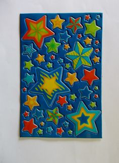 Assorted & Colorful *STAR* Plastic Stickers *1 sheet