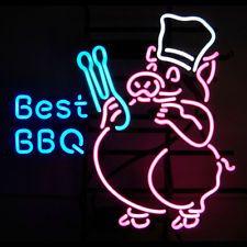 Best BBQ  Pink Pig Ribs Neon