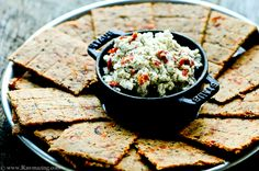 Sun-dried Tomato Olive Crackers  2 cups walnuts, soaked overnight, drained and rinsed  1/2 cup ground flax  1/4 cup water  1/3 cup sun-dried tomatoes, softened and chopped  1/2 cup olives, sliced  1 teaspoon oregano  pinch thyme  S  mix in food processor, 140 for 1 hr, 115 until dry--at least 8 hrs