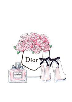 Wallpaper para imprimir e fazer quadrinhos lindos, gastando pouco, inspiração quadro Dior  com sapato, sacola com flores e perfume