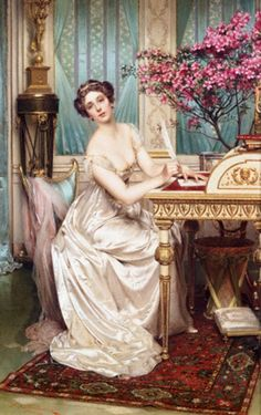The Love Letter Cross stitch pattern pdf format Victorian Paintings, Victorian Art, Frederic, Classic Paintings, Lost Art, Classical Art, Renaissance Art, Art Plastique, Love Letters
