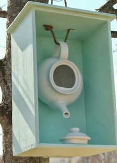 Bird house- great idea for an old teapot that I have