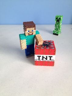 Make a Minecraft Steve figure out of just beads and toothpicks! Minecraft Pattern, Hama Beads Minecraft, How To Play Minecraft, Minecraft Crafts, Perler Beads Instructions, Fun Crafts, Diy And Crafts, Diy Perler Beads, Pearler Beads