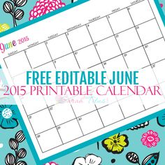 Great for menu planning, homeschooling, blogging, and organizing your life. Get your Free Blank Online Editable Calendar June 2015 here!
