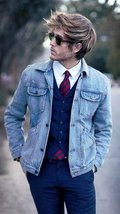 http://chicerman.com  billy-george:  Substitute a denim jacket for a blazer for a spot of difference.  #streetstyleformen