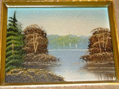 Hey, I found this really awesome Etsy listing at https://www.etsy.com/listing/94021295/vintage-1970s-oil-painting-lake-pond