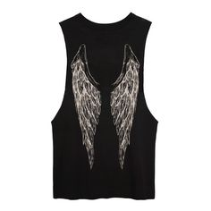 Black Muscle Tee with off-white wings print ($50) ❤ liked on Polyvore featuring tops, shirts, tank tops, tanks, print top, muscle t shirts, off white tank top, patterned tops and pattern tank top