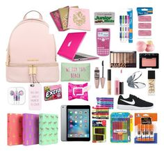 """""""What's in my backpack"""" by thelifeofalyssa25 on Polyvore featuring Michael Kors, Juicy Couture, Speck, Casetify, Paper Mate, T-shirt & Jeans, Maybelline, NARS Cosmetics, MAC Cosmetics and Eos"""
