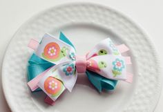 Spring Hair Bow Clip for Girls  Baby Easter Hair by SheWearsitWell, $8.00