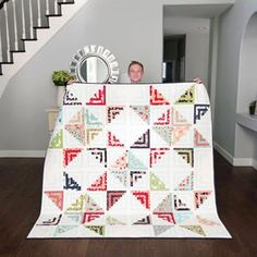 My oldest son (a teenager now, can you believe it?) came home from school the day I was laying this out and apparently I was looking pretty… Log Cabin Quilt Pattern, Log Cabin Quilts, Quilt Block Patterns, Pattern Blocks, Quilt Blocks, Log Cabins, Antique Quilts, Vintage Quilts, Batik Quilts