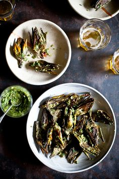 Grilled Baby Artichokes With Chimichurri Sauce : vegetarian, side Grilled Artichoke, Artichoke Recipes, Grilling Recipes, Wine Recipes, Vegetable Recipes, Vegetarian Recipes, Snack Recipes, Snacks, Chimichurri