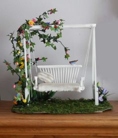 1:12 Miniature Dollhouse Handcrafted Lawn Swing and Landscaping OOAK 1 inch scale