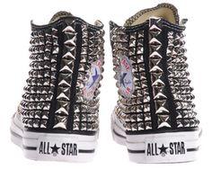 Studded All-Star Converse High-tops. Studded Converse, Studded Sneakers, Converse All Star, High Top Sneakers, Bling Converse, Converse Fashion, Converse Sneakers, Converse High, Zapatillas All Star