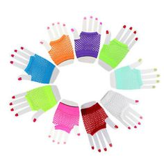 Women Fishnet Gloves Short Fingerless Neon Party Dance 70s 80s Womens Glove YW