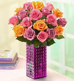 Sorbet Roses- 18-stem bouquet of pink roses, orange roses and lavender roses, $39.99- $66.99