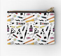 """I Love Art Supplies"" Zipper Pouch by ArtVixen Iphone Wallet, Iphone Cases, Love Art, My Love, Pastel Pencils, Pencil Pouch, Gifts For Family, Zipper Pouch, Art Supplies"