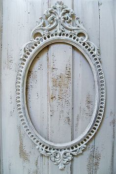 Large white chalky painted ornate frame French/Nordic inspired from Anita Spero Design