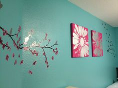 My Daughter's bedroom. Turquoise with pink, black, and white accents.