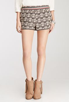 Embroidered Southwestern Pattern Shorts | FOREVER21 - 2000082444