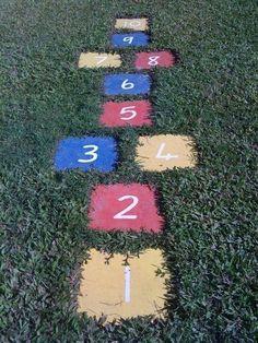 DIY back yard hopscotch - pavers, paint, shovel. Ultimate outdoor fun for kids! 3 Bmw, Backyard Games, Backyard Ideas, Backyard Patio, Landscaping Ideas, Hopscotch, Outdoor Projects, Backyard Projects, Outdoor Fun