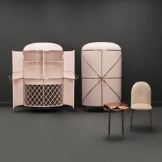 Slovenian designer Nika Zupanc showed two pink designs in Milan, including these cabinets for Scarlet Splendour