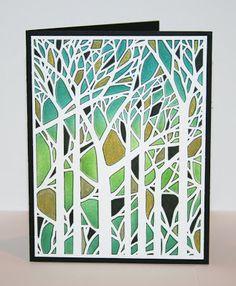 Miriam Prantner:  Dreamweaver Bare Trees stencil; Distress Inks; Faber Castell Pitt gold artist pen; American Crafts Black Precision Pens 01 and 08