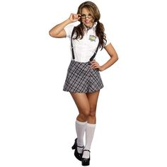 white multi 6 piece naughty to nerdy school girl costume (2,250 THB) ❤ liked on Polyvore featuring costumes, whitemulti, sexy halloween costumes, school girl, sexy school girl costume, white costume and schoolgirl costume