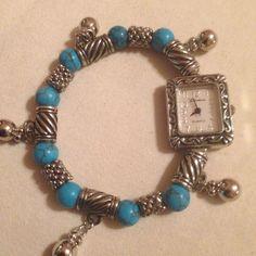 New Geneva Turquoise & Silver Stretch Bead Bracelet Watch #Geneva #Fashion
