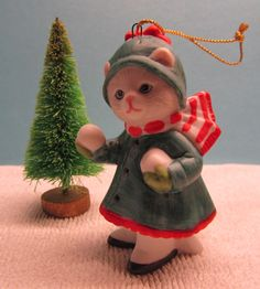 Schmid Kitty Cucumber 1989 Christmas Ornament by WillowValleyVintage on Etsy