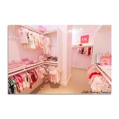 Ivory & Coral Girl's Nursery in Orange County - Little Crown Interiors ❤ liked on Polyvore featuring closets and rooms