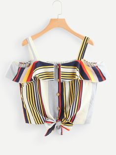 SheIn offers Open Shoulder Knot Hem Striped Top & more to fit your fashionable needs. Girls Fashion Clothes, Teen Fashion Outfits, Outfits For Teens, Trendy Outfits, Cute Outfits, Cute Tank Tops, Cute Shirts, Shoulder Knots, Casual Skirt Outfits