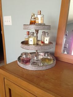 DIY perfume tray.... I need this for everything perfumes, make up, lotions etc
